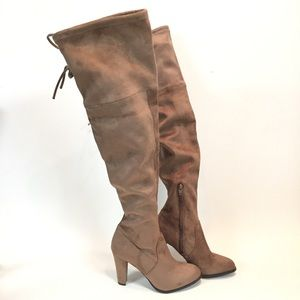 A New Day Brown Microfiber Over The Knee Boots
